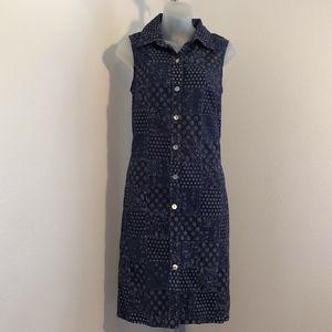 Talbots Patchwork Button Down Sleeveless Dress